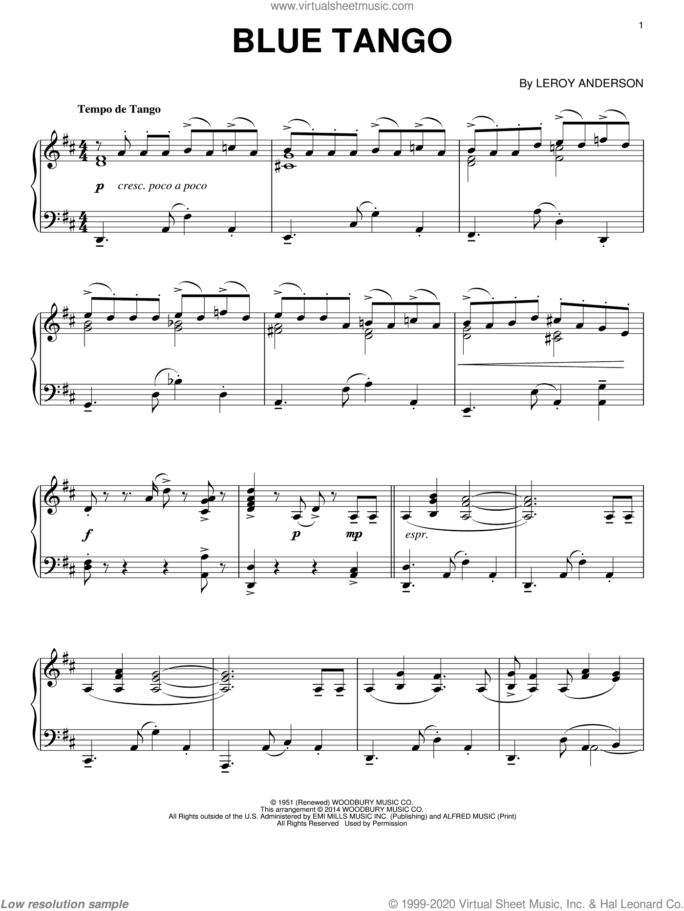 Blue Tango sheet music for piano solo by Leroy Anderson, intermediate skill level