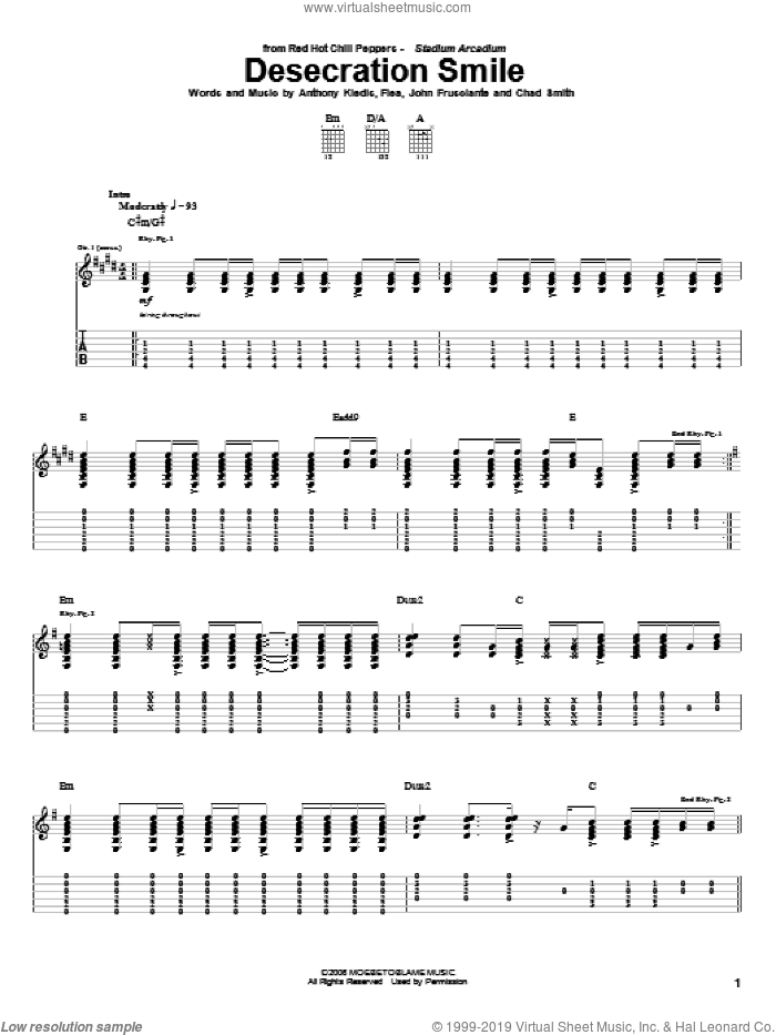 Desecration Smile sheet music for guitar (tablature) by John Frusciante, Red Hot Chili Peppers and Flea. Score Image Preview.