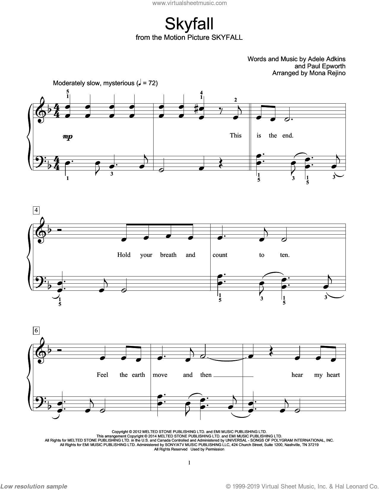 Skyfall sheet music for piano solo (elementary) by Adele, Bill Boyd, Mona Rejino and Paul Epworth. Score Image Preview.