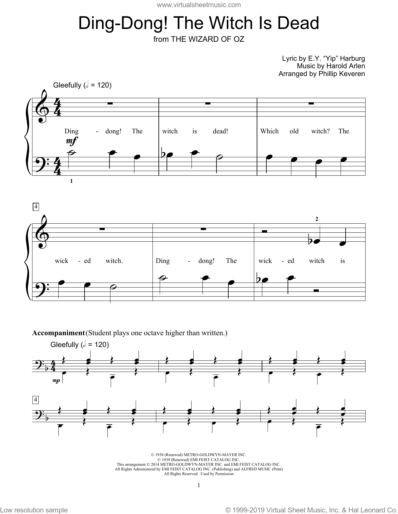 Ding-Dong! The Witch Is Dead sheet music for piano solo (elementary) by Harold Arlen, Phillip Keveren, Bill Boyd and E.Y. Harburg. Score Image Preview.