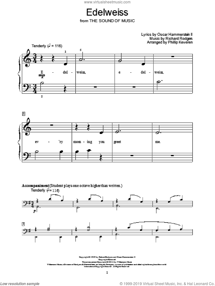 Edelweiss sheet music for piano solo (elementary) by Richard Rodgers, Phillip Keveren, Bill Boyd and Oscar II Hammerstein. Score Image Preview.