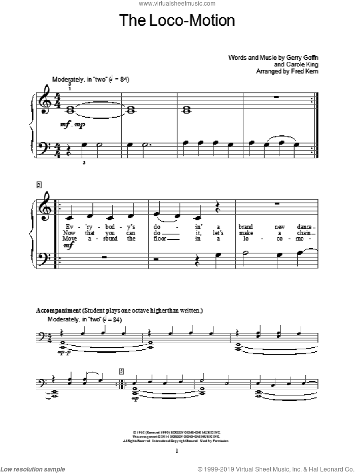 The Loco-Motion sheet music for piano solo (elementary) by Carole King, Fred Kern, Bill Boyd, Gerry Goffin, Grand Funk, Kylie Minogue and Little Eva. Score Image Preview.