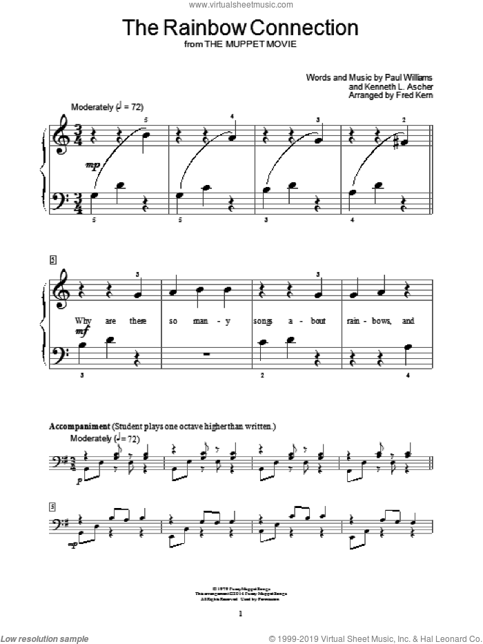 The Rainbow Connection sheet music for piano solo (elementary) by Paul Williams