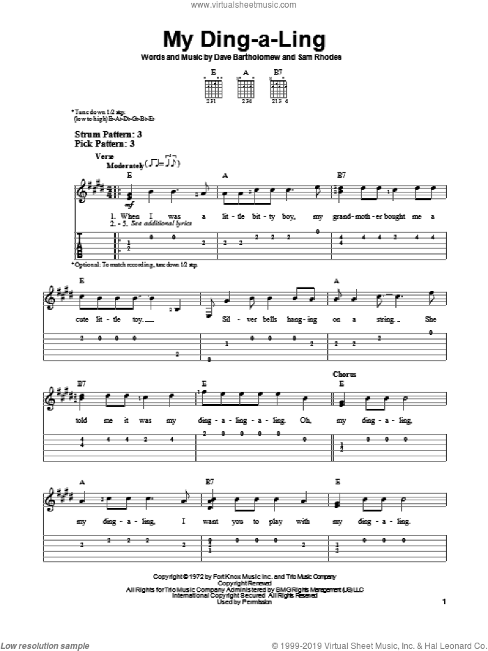 My Ding-A-Ling sheet music for guitar solo (easy tablature) by Sam Rhodes, Chuck Berry and Dave Bartholomew. Score Image Preview.