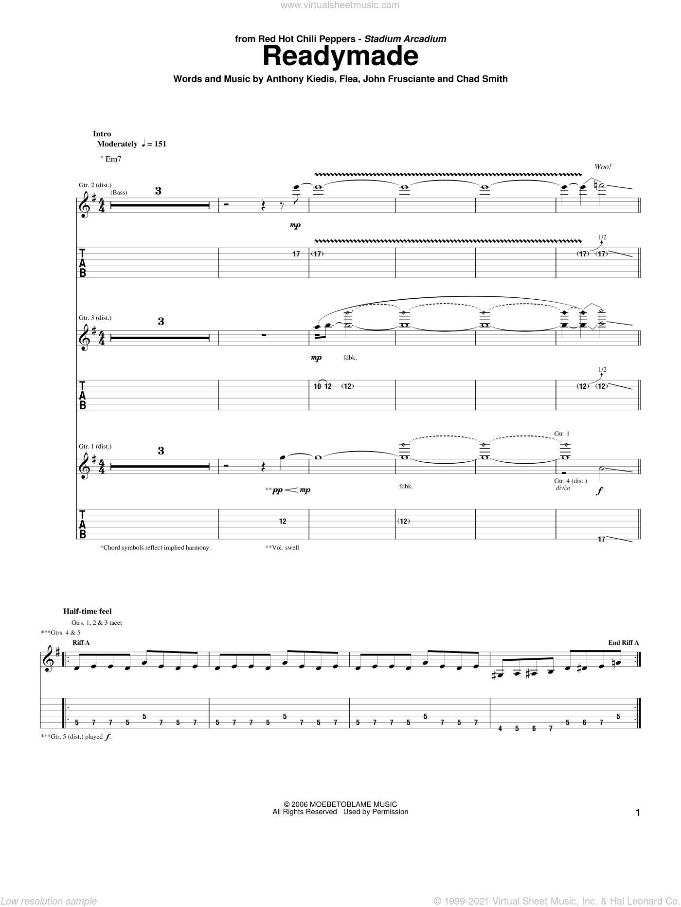 Readymade sheet music for guitar (tablature) by John Frusciante, Red Hot Chili Peppers and Flea. Score Image Preview.