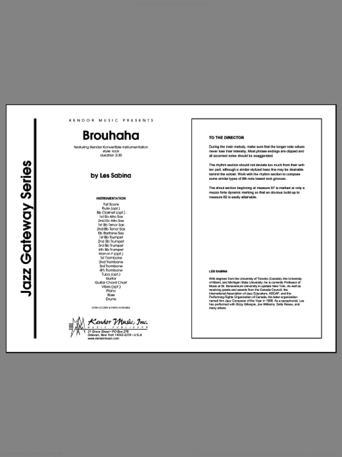 Brouhaha (COMPLETE) sheet music for jazz band by Les Sabina, intermediate skill level