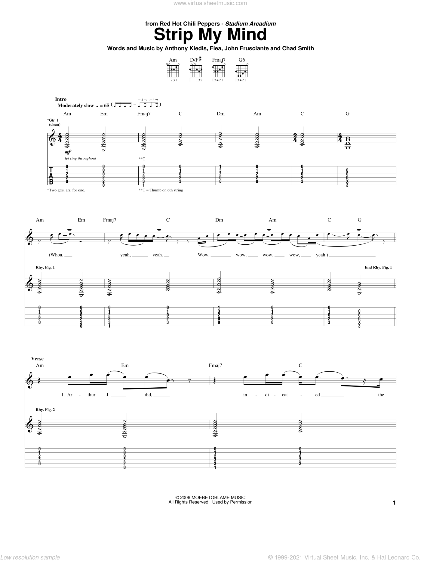 Strip My Mind sheet music for guitar (tablature) by Red Hot Chili Peppers. Score Image Preview.