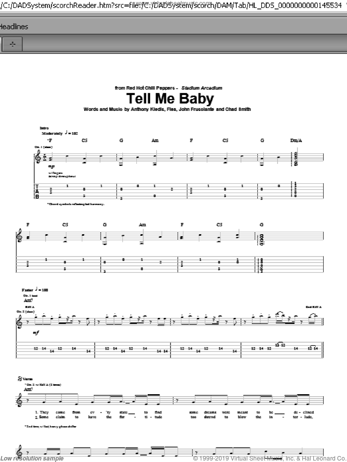 Tell Me Baby sheet music for guitar (tablature) by John Frusciante