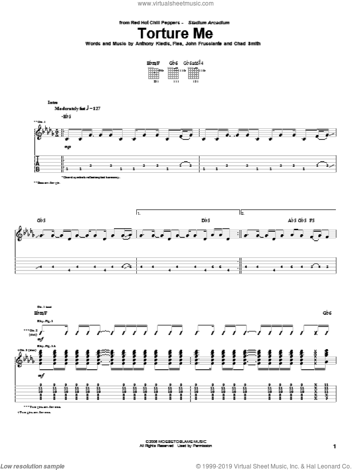 Torture Me sheet music for guitar (tablature) by John Frusciante, Red Hot Chili Peppers and Flea. Score Image Preview.