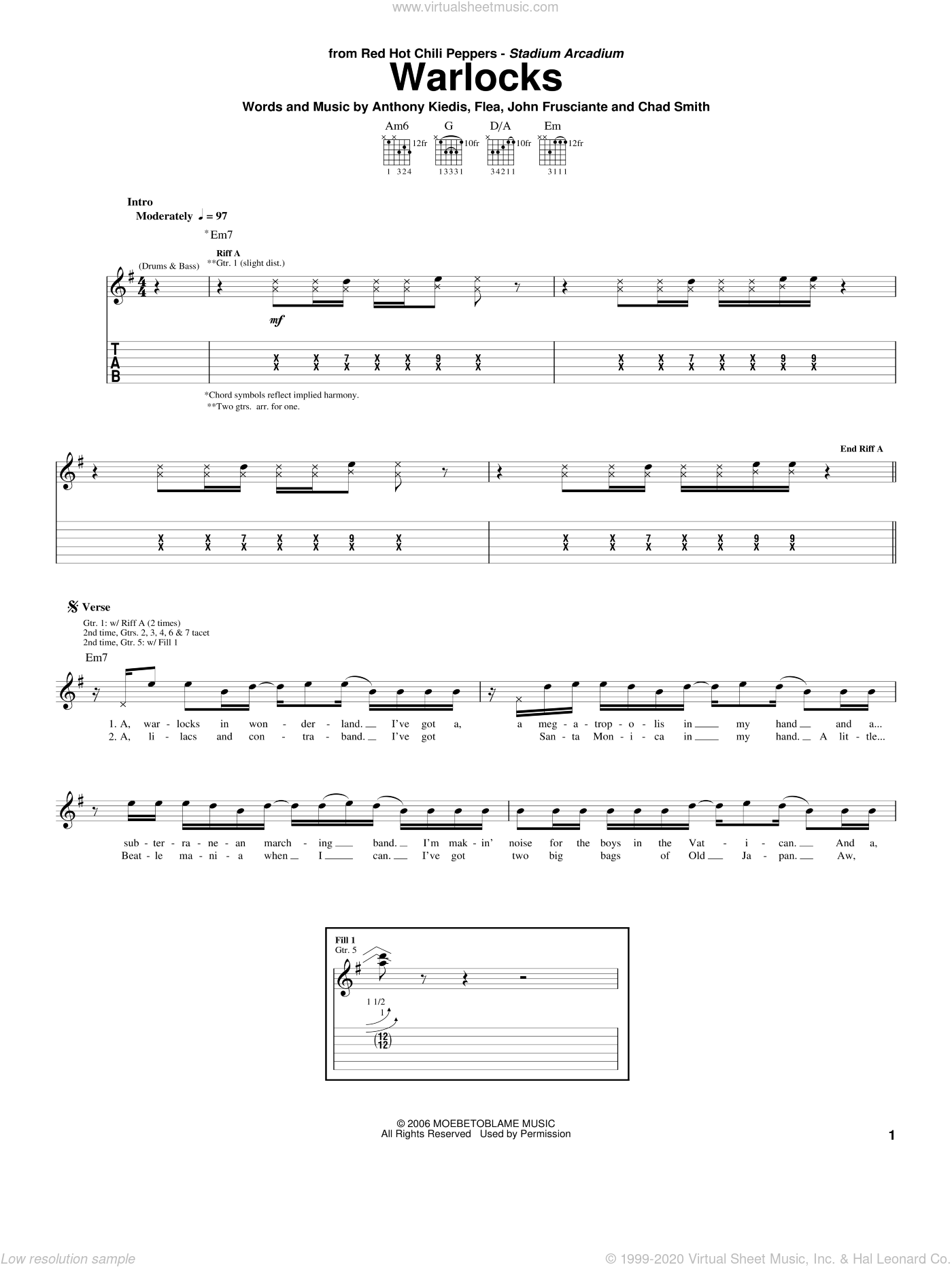 Warlocks sheet music for guitar (tablature) by Red Hot Chili Peppers, intermediate guitar (tablature). Score Image Preview.
