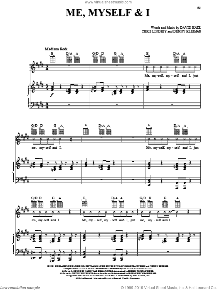 Me, Myself and I sheet music for voice, piano or guitar by JIVEjones, intermediate. Score Image Preview.