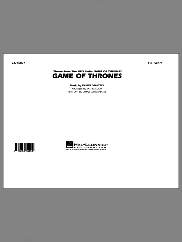 Game of Thrones (COMPLETE) sheet music for marching band by Ramin Djawadi, Game Of Thrones (TV Series) and Jay Bocook, classical score, intermediate skill level