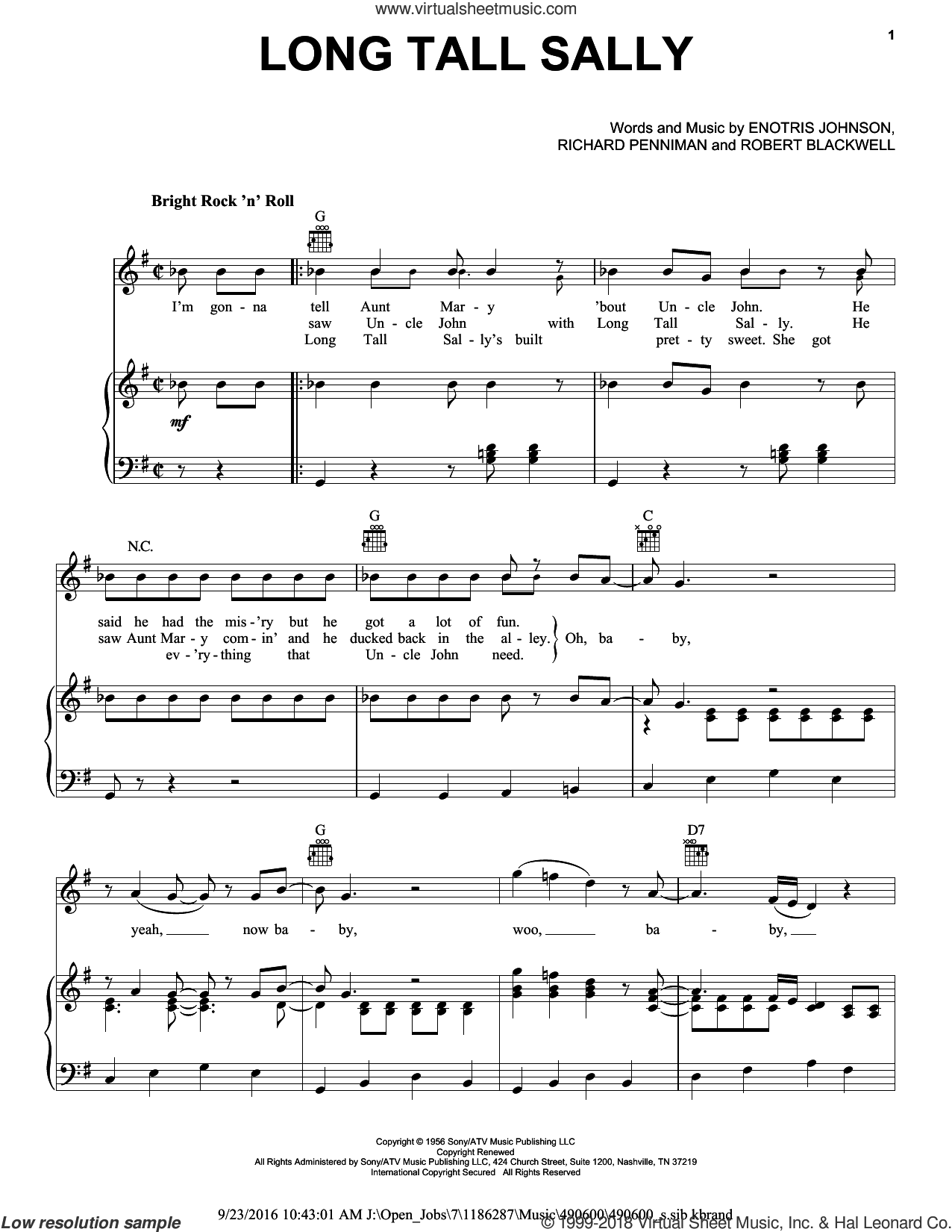 Long Tall Sally sheet music for voice, piano or guitar by The Beatles, Little Richard, Pat Boone, Enotris Johnson, Richard Penniman and Robert Blackwell, intermediate. Score Image Preview.