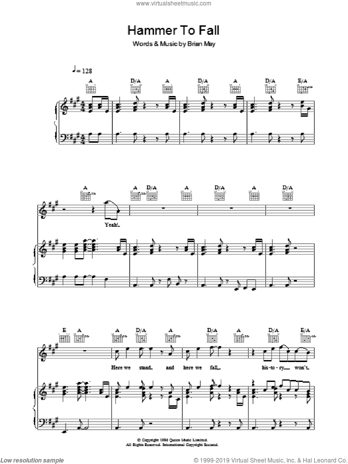 Hammer To Fall sheet music for voice, piano or guitar by Brian May and Queen. Score Image Preview.