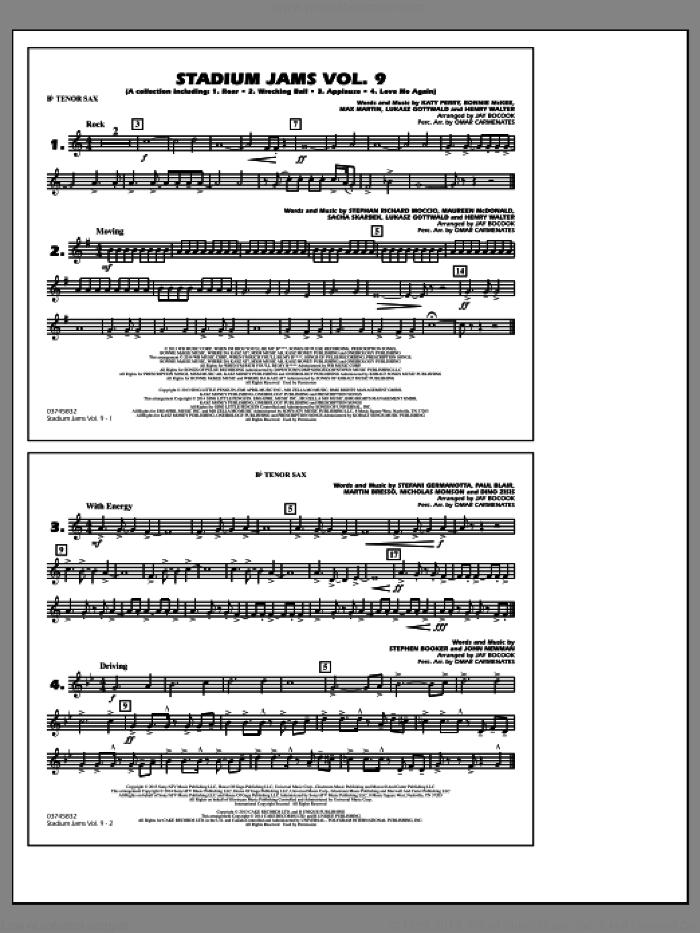 Stadium Jams, volume 9 sheet music for marching band (Bb tenor sax) by Jay Bocook and Omar Carmenates, intermediate skill level