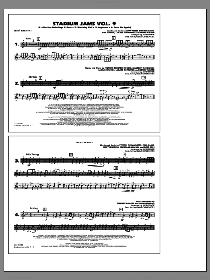 Stadium Jams, volume 9 sheet music for marching band (2nd Bb trumpet) by Jay Bocook and Omar Carmenates, intermediate skill level