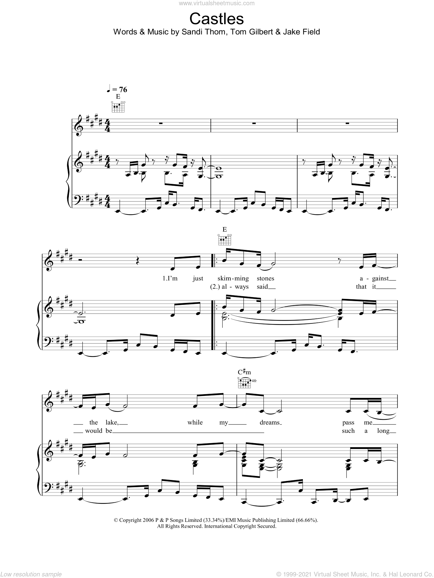 Castles sheet music for voice, piano or guitar by Tom Gilbert and Jake Field. Score Image Preview.