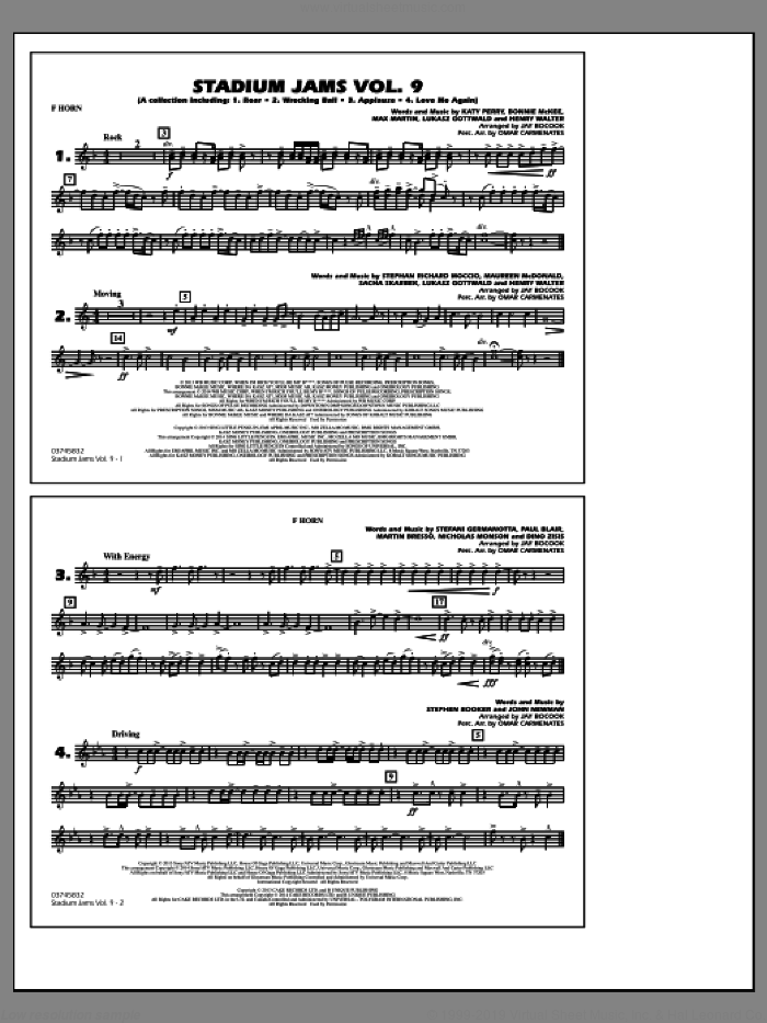 Stadium Jams, volume 9 sheet music for marching band (f horn) by Jay Bocook and Omar Carmenates, intermediate skill level