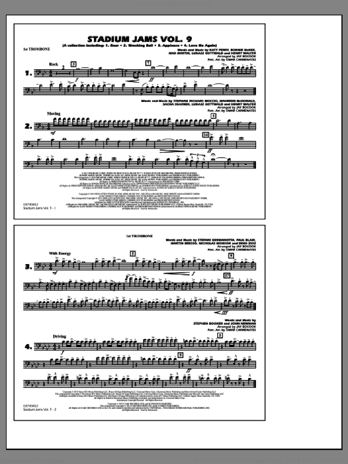 Stadium Jams, volume 9 sheet music for marching band (1st trombone) by Jay Bocook and Omar Carmenates, intermediate skill level