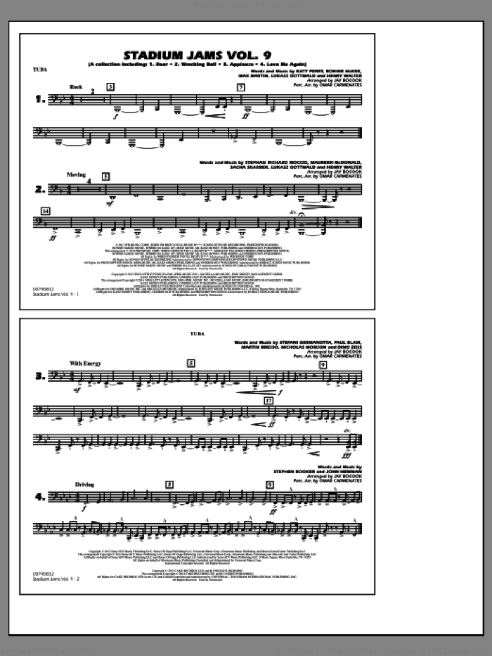 Stadium Jams, volume 9 sheet music for marching band (tuba) by Jay Bocook and Omar Carmenates, intermediate skill level