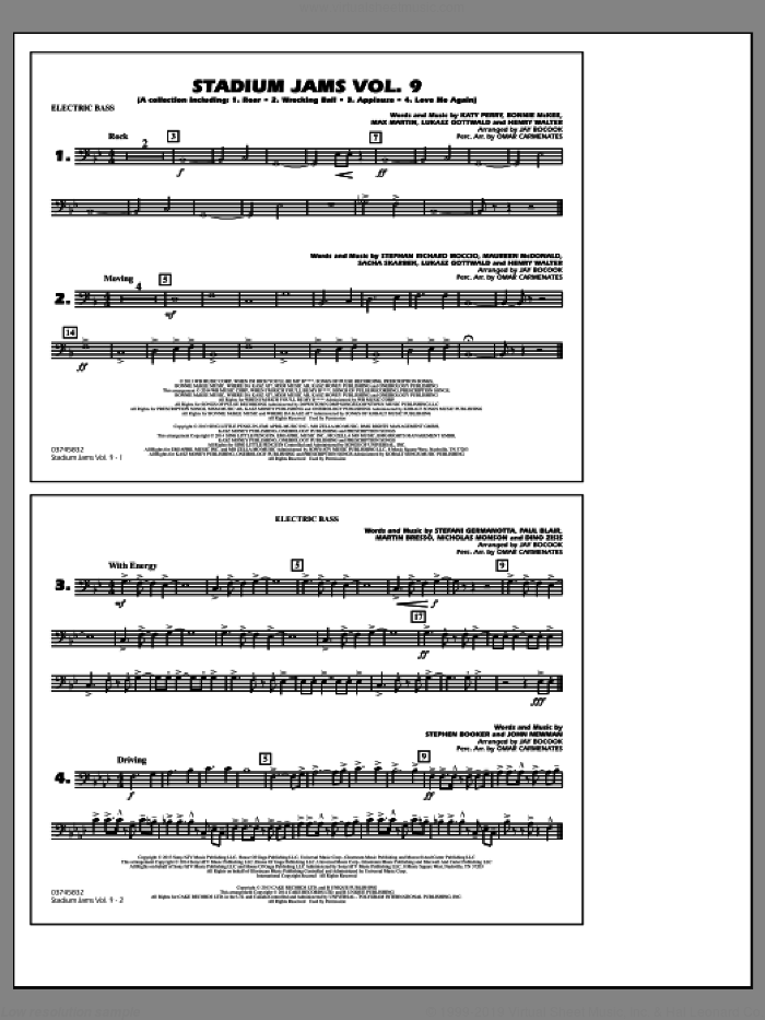 Stadium Jams, volume 9 sheet music for marching band (electric bass) by Jay Bocook and Omar Carmenates, intermediate skill level