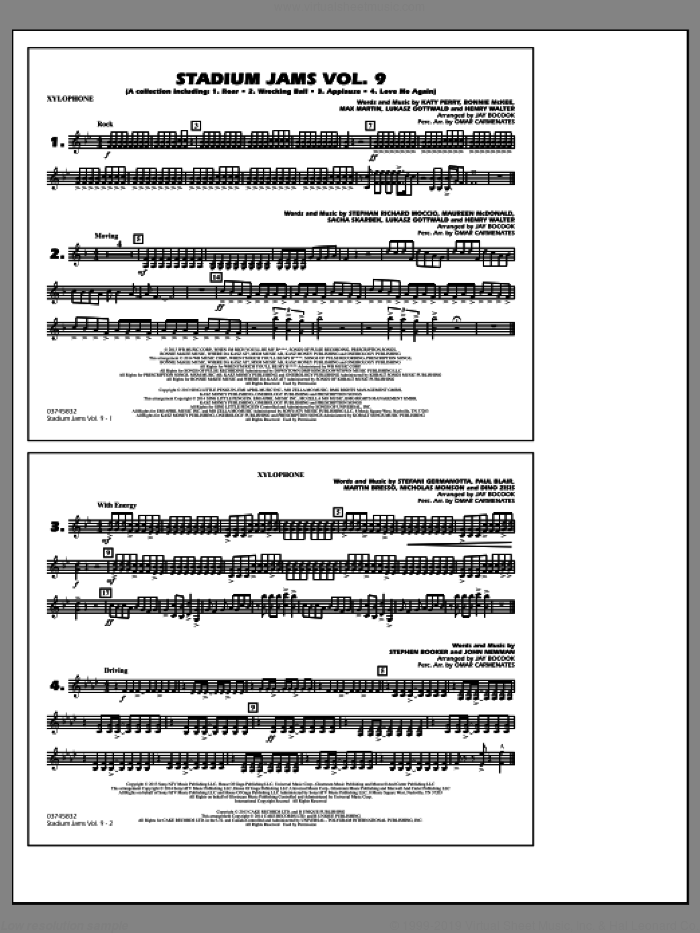 Stadium Jams, volume 9 sheet music for marching band (xylophone) by Jay Bocook and Omar Carmenates, intermediate skill level