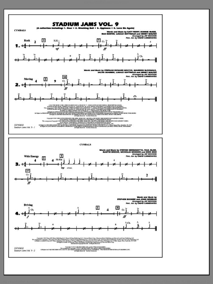 Stadium Jams, volume 9 sheet music for marching band (cymbals) by Jay Bocook and Omar Carmenates, intermediate skill level