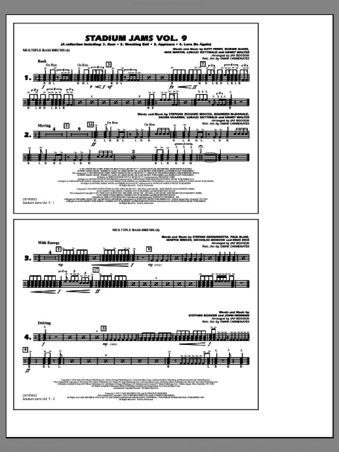 Stadium Jams, volume 9 sheet music for marching band (multiple bass drums) by Jay Bocook and Omar Carmenates, intermediate skill level