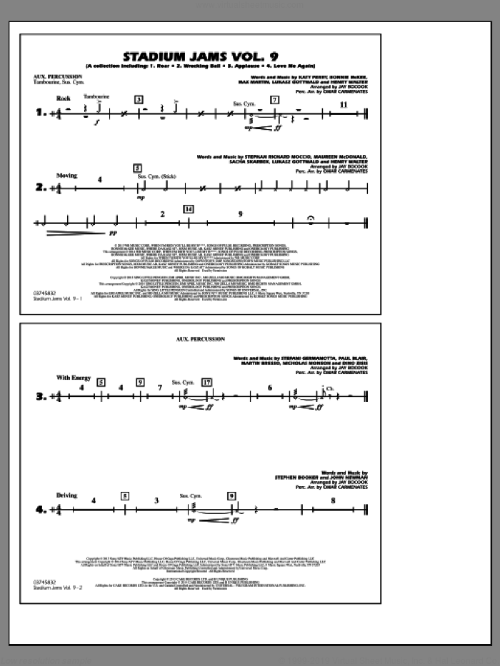 Stadium Jams, volume 9 sheet music for marching band (aux percussion) by Jay Bocook and Omar Carmenates, intermediate skill level