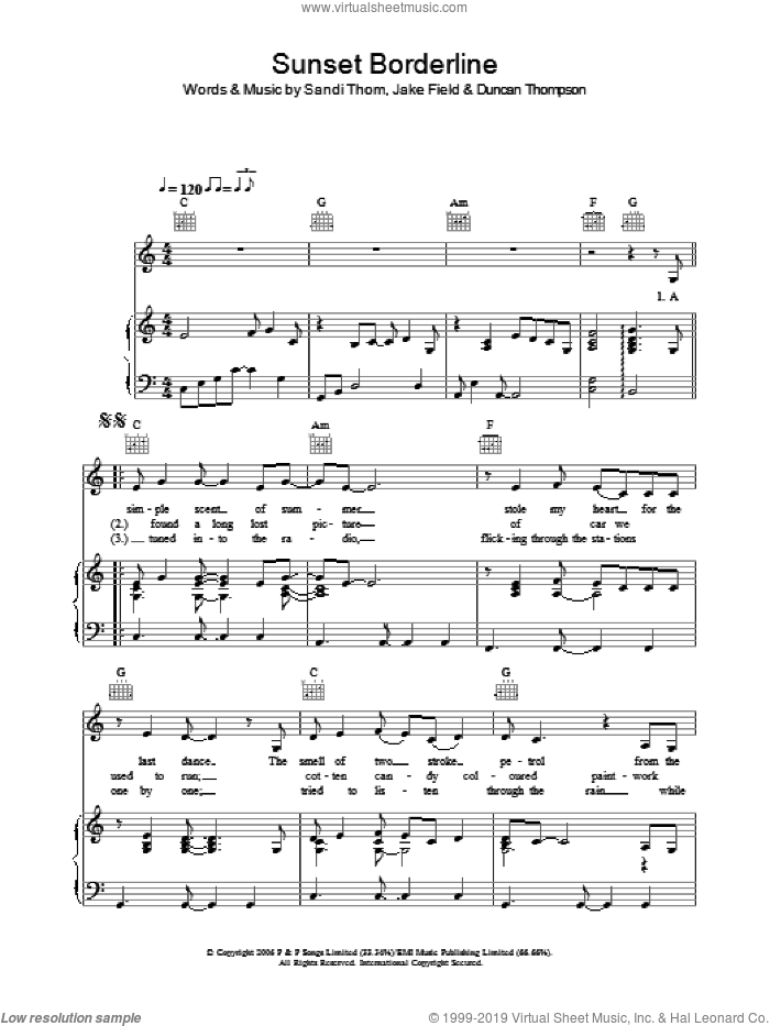 Sunset Borderline sheet music for voice, piano or guitar by Jake Field. Score Image Preview.