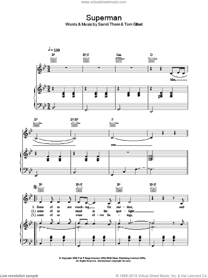 Superman sheet music for voice, piano or guitar by Sandi Thom. Score Image Preview.