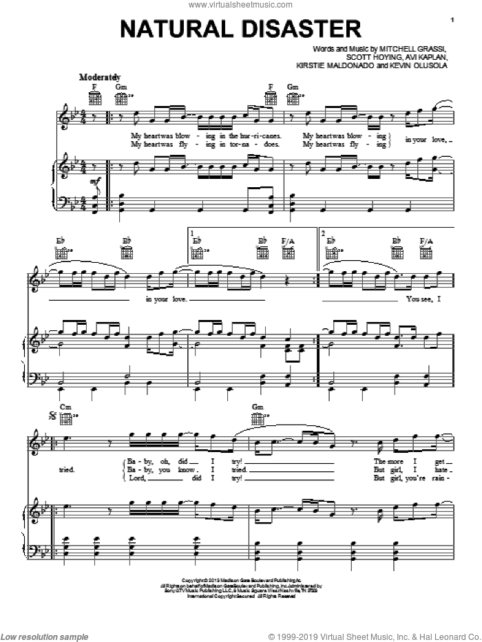 Natural Disaster sheet music for voice, piano or guitar by Scott Hoying and Kevin Olusola. Score Image Preview.