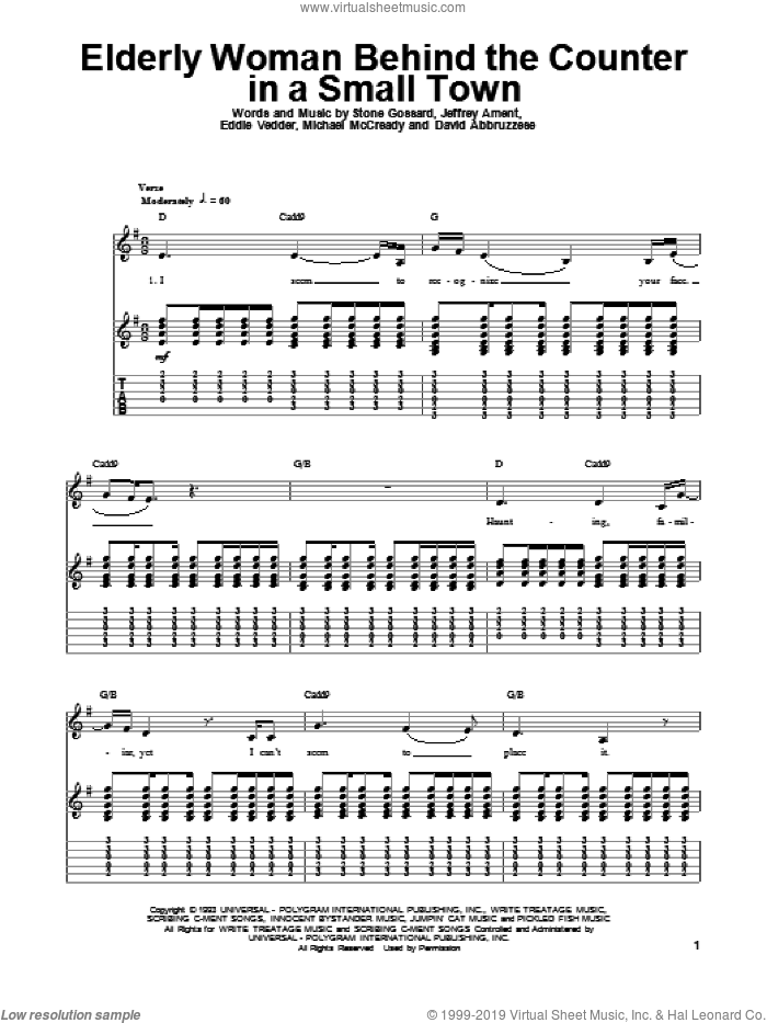 Elderly Woman Behind The Counter In A Small Town sheet music for guitar (tablature, play-along) by Pearl Jam, David Abbruzzese, Eddie Vedder, Jeffrey Ament, Michael McCready and Stone Gossard, intermediate skill level