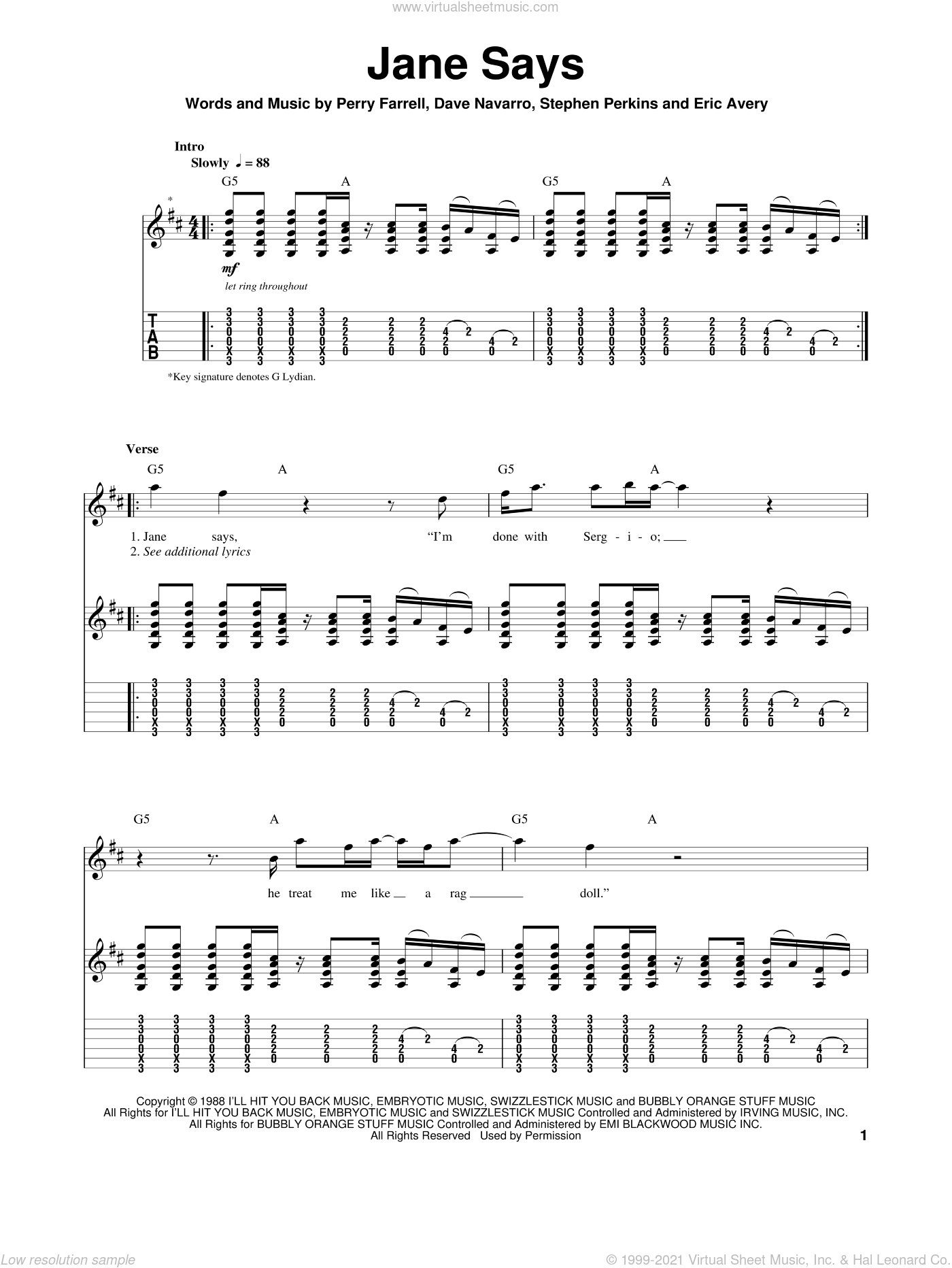 Jane Says sheet music for guitar (tablature, play-along) by Stephen Perkins and Perry Farrell. Score Image Preview.