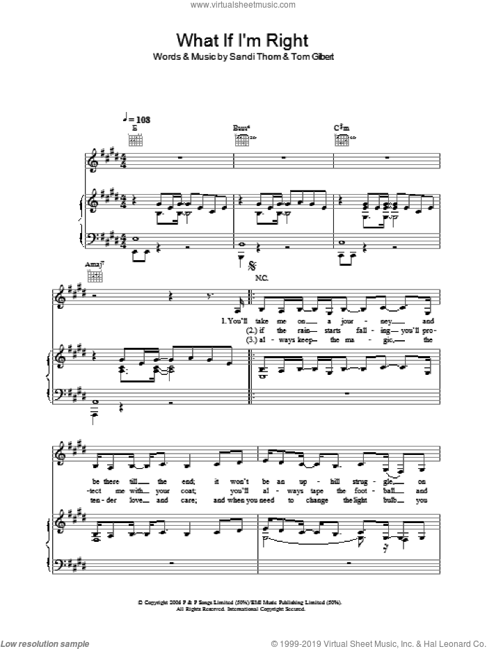 What If I'm Right sheet music for voice, piano or guitar by Sandi Thom, intermediate. Score Image Preview.