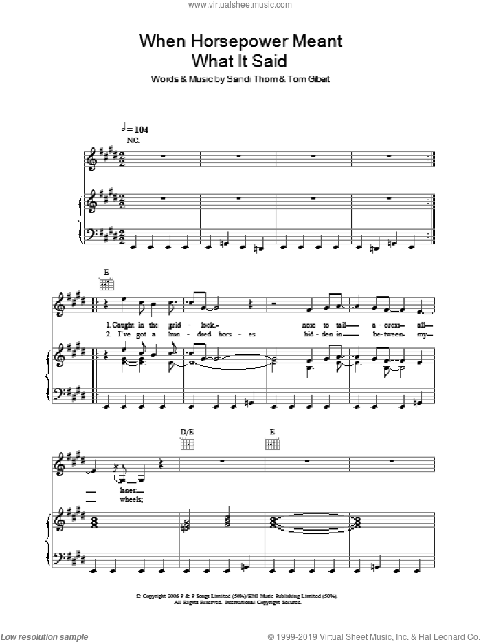 When Horsepower Meant What It Said sheet music for voice, piano or guitar by Tom Gilbert