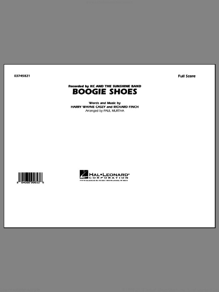 Boogie Shoes (COMPLETE) sheet music for marching band by Paul Murtha, Bee Gees, Harry Wayne Casey, KC & The Sunshine Band and Richard Finch, intermediate. Score Image Preview.