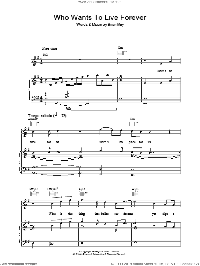 Who Wants To Live Forever? sheet music for voice, piano or guitar by Brian May and Queen. Score Image Preview.