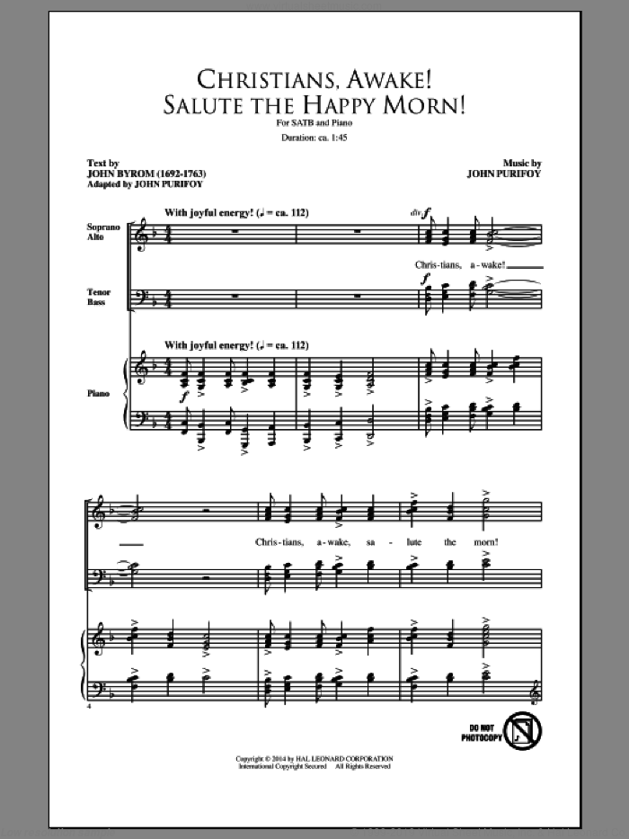 Christians, Awake! Salute The Happy Morn sheet music for choir (SATB) by John Purifoy. Score Image Preview.