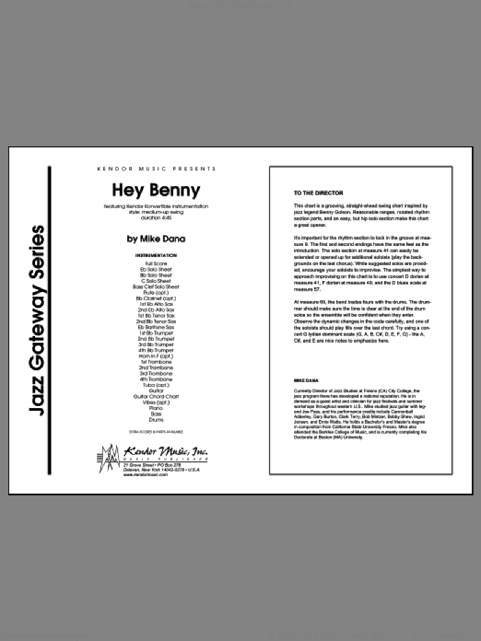 Hey Benny sheet music for jazz band (full score) by Mike Dana