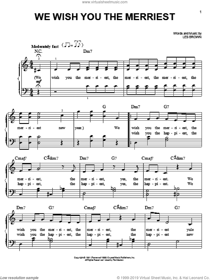We Wish You The Merriest sheet music for piano solo by Frank Sinatra and Les Brown, easy skill level