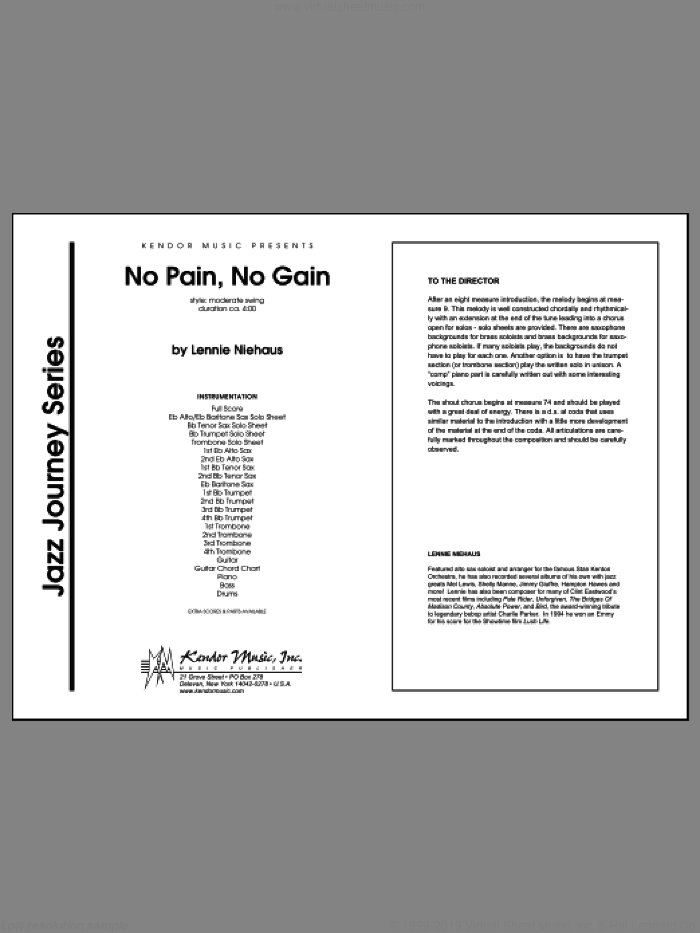 No Pain, No Gain (COMPLETE) sheet music for jazz band by Lennie Niehaus, intermediate. Score Image Preview.