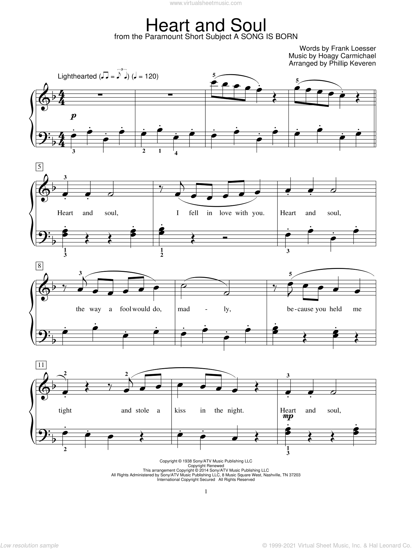 Heart And Soul sheet music for piano solo (elementary) by Hoagy Carmichael, Phillip Keveren, Mona Rejino, Robert Vandall, Bill Boyd and Frank Loesser. Score Image Preview.