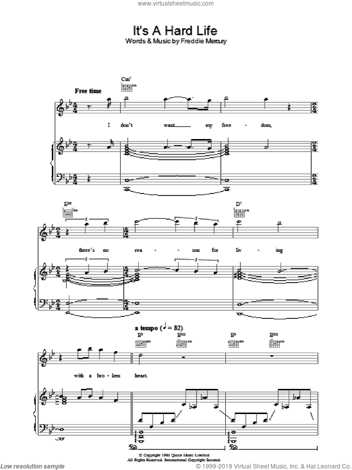 It's A Hard Life sheet music for voice, piano or guitar by Queen and Freddie Mercury, intermediate