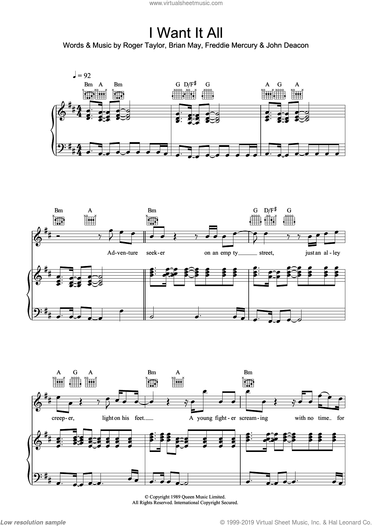 I Want It All sheet music for voice, piano or guitar by Queen and Freddie Mercury, intermediate. Score Image Preview.