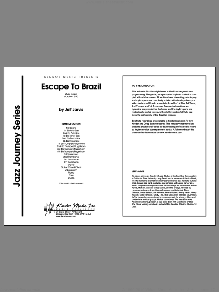 Escape To Brazil (COMPLETE) sheet music for jazz band by Jeff Jarvis, intermediate. Score Image Preview.