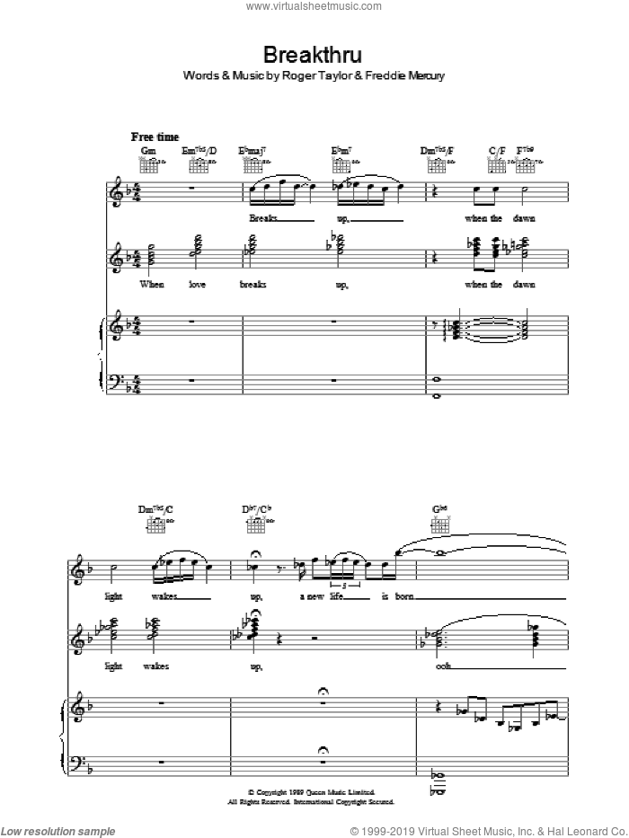 Breakthru sheet music for voice, piano or guitar by Queen and Freddie Mercury, intermediate. Score Image Preview.