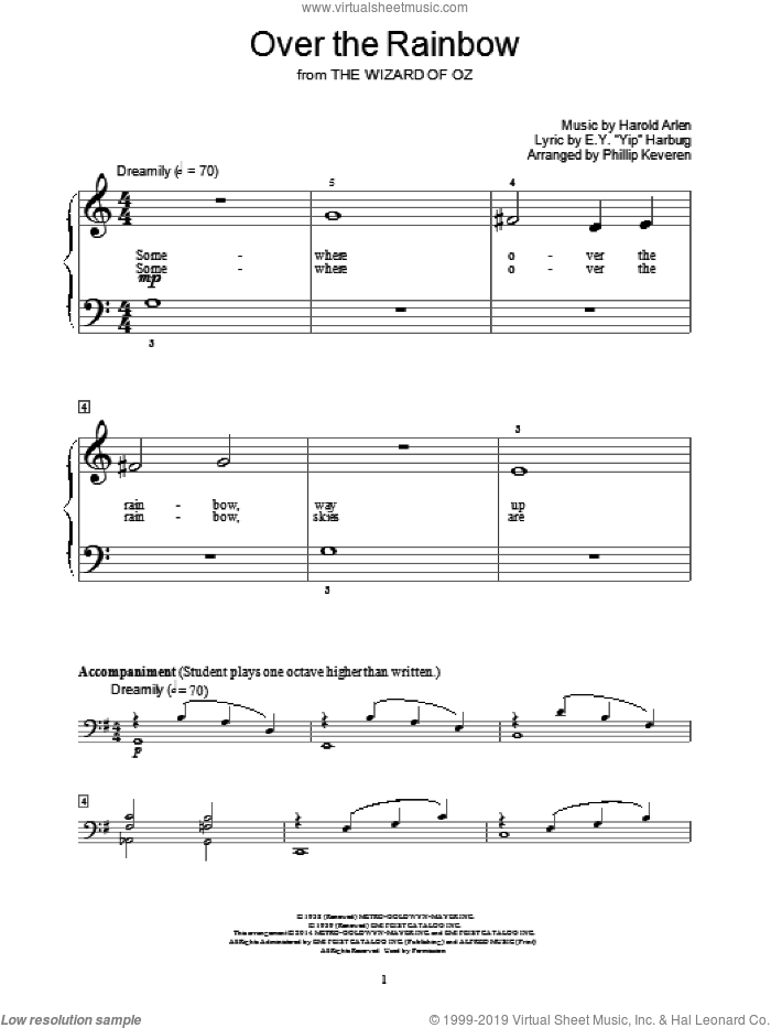 Over The Rainbow sheet music for piano solo (elementary) by Harold Arlen, Phillip Keveren, Bill Boyd and E.Y. Harburg, beginner piano (elementary)