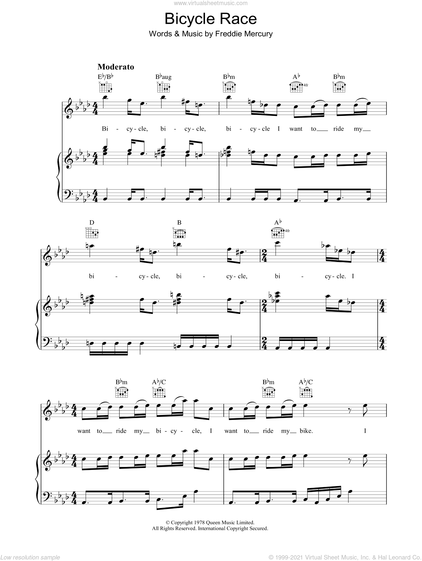 Bicycle Race sheet music for voice, piano or guitar by Queen and Freddie Mercury, intermediate skill level