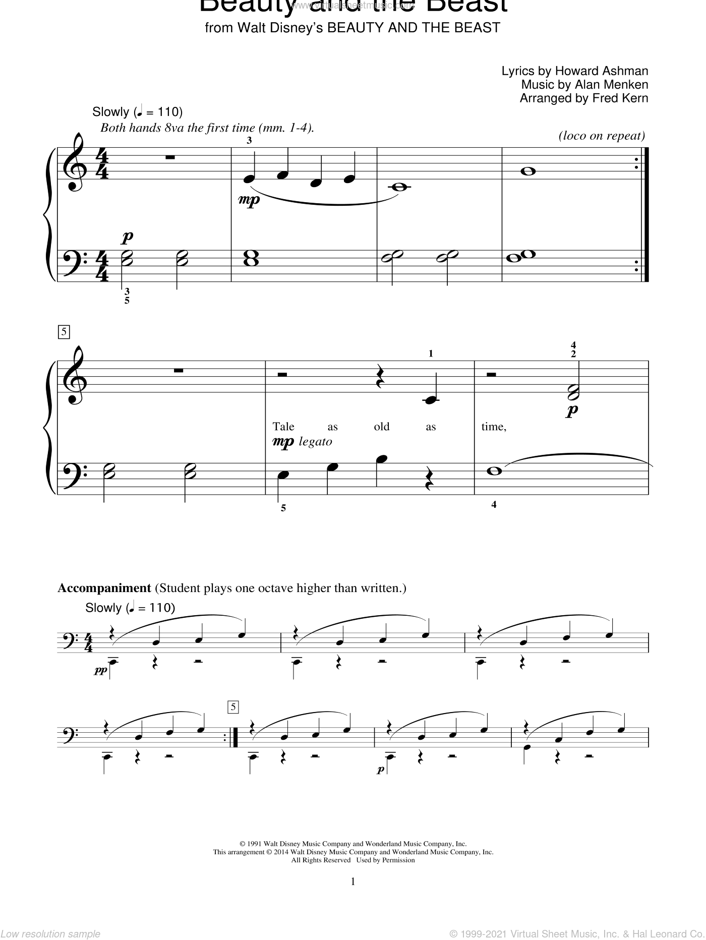 Beauty And The Beast sheet music for piano solo (elementary) by Alan Menken, Fred Kern, Bill Boyd, Celine Dion & Peabo Bryson and Howard Ashman, beginner piano (elementary)